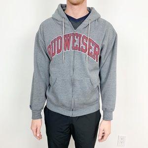 Budweiser Gray Hoodie Sweatshirt Full Zip Medium